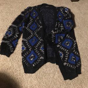 City Chic XS 14 Fluffy Aztec Cardigan EUC